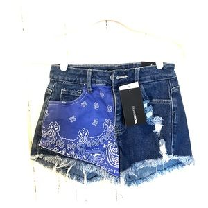 Bandana Denim Shorts